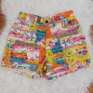 Vintage Colorful High Waisted Mom Shorts